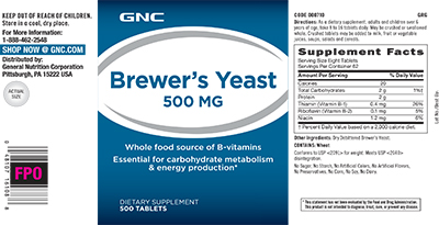 GNC Brewer's Yeast 500 MG