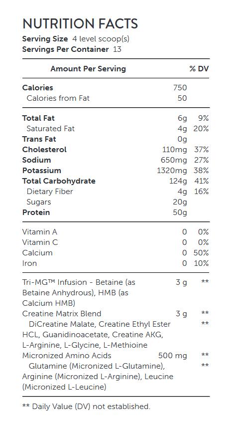 مکمل مس x-x-x جی ان سی - NUTRITION FACTS